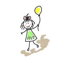 Illustration drawing of a girl with a ball on a walk