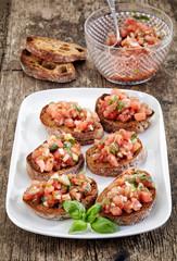 plate of bruschettas