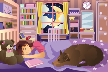Girl Sleeping in Her Room With Her Dog