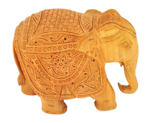 wooden elephant isolated over white. souvenir