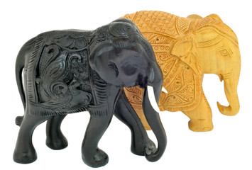 black and wooden elephant isolated over white. souvenir