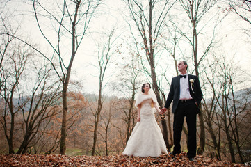 wedding couple at the autumn forest