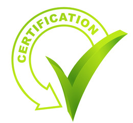 certification sur symbole validé vert