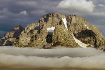 Glaciers and a fogbank on a mountain in Grand Teton National Park in Wyoming