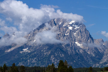 Low-lying clouds over Grand Teton National Park in Wyoming