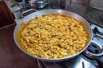 Big pan with pasta