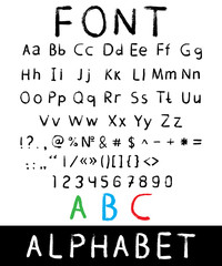 Vector font: alphabet and numbers