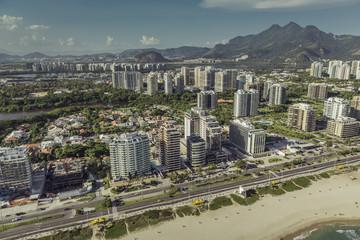 Rio de Janeiro, Barra da Tijuca beach with modern architecture