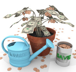 """How To Grow Wealth An illustration related to growing wealth with the depiction of a colloquial potted """"money tree"""" and watering can (investment) along with the collected """"fruits"""" of coins (savings)."""