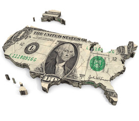 United States of Dollars: An illustration related to the view that wealth and consumer driven economics are at the heart of the United States.