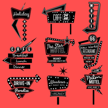 vintage neon sign black and white