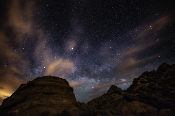 Beautiful Night Starry sky with Rising Milky Way Valley of Fire