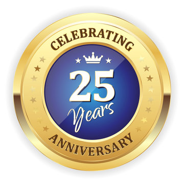 Blue celebrating 25 years badge with gold border