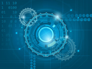 Abstract blue digital technology background with gears, glitter and number scheme
