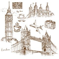 hand drawn travel set London