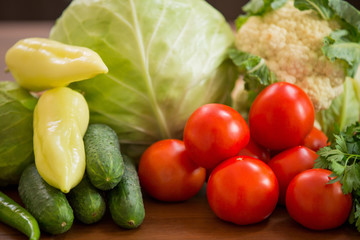 tomato, cabbage, cucumber and pepper