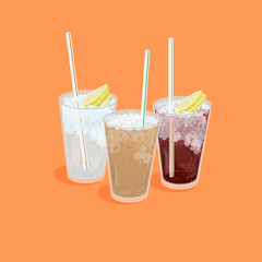 A illustration of Hong Kong style food set.Teatime ( Cold milk tea , Cold Lemon tea , Cold Lemon Water)