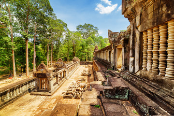View of ancient galleries of Ta Keo temple in Angkor, Cambodia