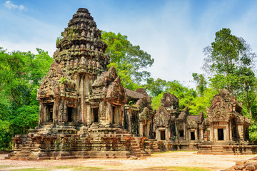 View of main tower of ancient Thommanon temple, Angkor, Cambodia
