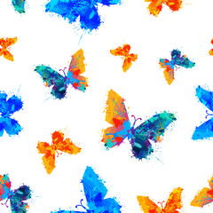 Vector seamless watercolor pattern - painted butterflies