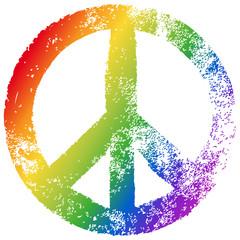 Friedenszeichen, Regenbogenfarben, Vektor, Grunge, freigestellt