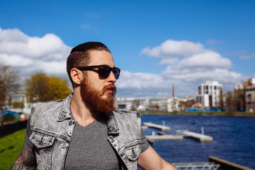Bearded hipster sunglasses in the city