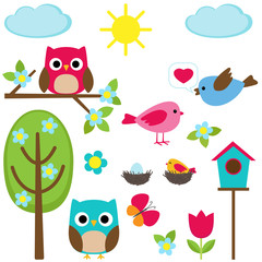 Cute vector set of different spring elements