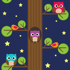 Owls at night on the tree