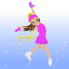 ector illustration of cartoon skating girl