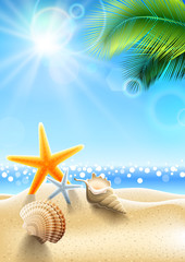 Fototapete - Summer holidays - seashell on tropical beach