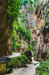 Views of the steep cliffs of the Chegem canyon. Caucasus mountains, Bezengi region, Kabardino-Balkaria, Russia
