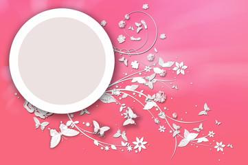 Butterflies Around Circle On Pink