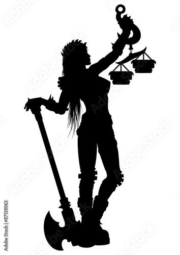 Woman Justice Silhouette With An Axe And Scales Or A Zodiac Symbol