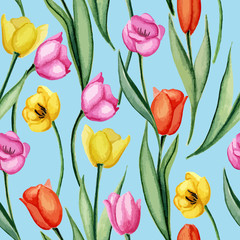 Tulips blue pattern