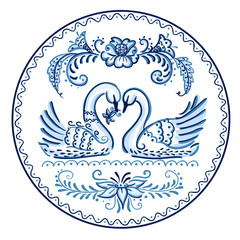 Decorative plate in Gzhel style - swans.