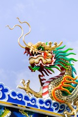 Dragon statue on the roof Chinese temple
