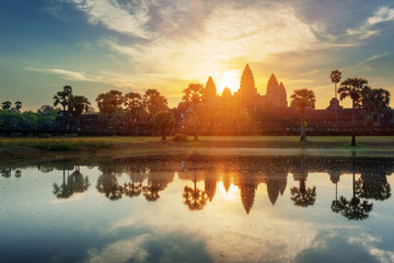 Mysterious towers of ancient Angkor Wat in Cambodia at dawn