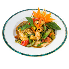 Red Curry stir fry isolated on white
