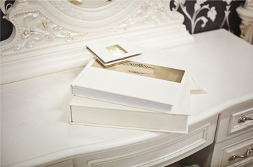 White classic wedding book and album
