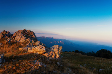 Dawn in the mountains. panorama