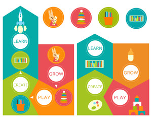 Vector set for child Development. Arrows Icons for 4 periods of maturing.