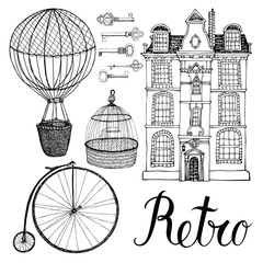 Retro objects, house and transport. Hand drawing and calligraphy