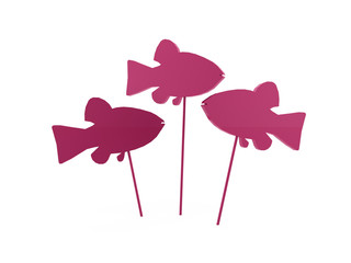 Pink abstract fish rendered