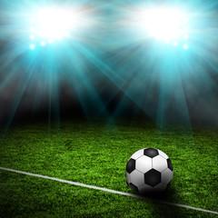 Soccer field with spotlights