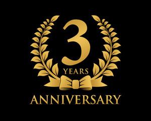 anniversary logo ribbon wreath black background 3