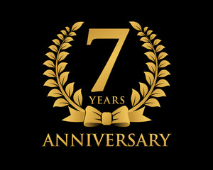 anniversary logo ribbon wreath black background 7
