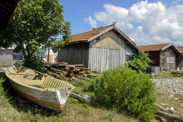 Port ostreicole, Gujan Mestras, Bassin d'Arcachon, Landes de Gascogne, 33, Gironde