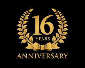 anniversary logo ribbon wreath black background 16