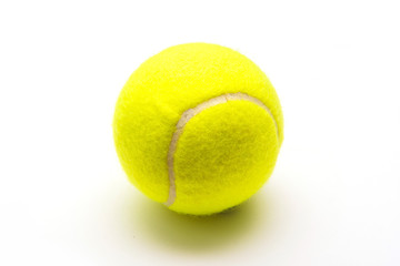 green tennis ball on white background