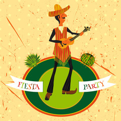 Mexican Fiesta Party Invitation with Mexican man playing the guitar in a sombrero and cactuses. Hand drawn vector illustration poster with grunge background. Flyer or greeting card template